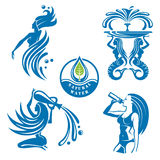 Water icons set. Set of abstract water icons as girls Royalty Free Stock Images