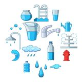 Water icons set, cartoon style. Water icons set. Cartoon illustration of 16 water vector icons for web Stock Image