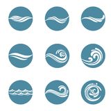 Water icons set. Collection with abstract symbols of blue water splash Royalty Free Stock Images