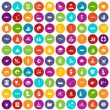 100 water icons set color. 100 water icons set in different colors circle isolated vector illustration royalty free illustration