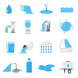 Water icons set. Water forms flat icons set with drop ocean wave rain and waterfall isolated vector illustration Royalty Free Stock Photos