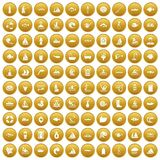 100 water icons set gold. 100 water icons set in gold circle isolated on white vector illustration royalty free illustration