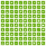 100 water icons set grunge green. 100 water icons set in grunge style green color isolated on white background vector illustration stock illustration