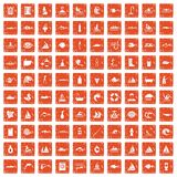 100 water icons set grunge orange. 100 water icons set in grunge style orange color isolated on white background vector illustration stock illustration