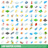 100 water icons set, isometric 3d style. 100 water icons set in isometric 3d style for any design vector illustration Stock Image