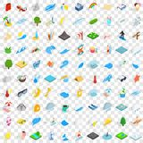 100 water icons set, isometric 3d style. 100 water icons set in isometric 3d style for any design vector illustration Royalty Free Stock Photography