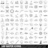 100 water icons set, outline style Royalty Free Stock Image