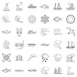 Water icons set, outline style Royalty Free Stock Photography