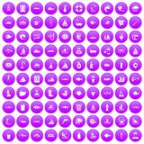 100 water icons set purple. 100 water icons set in purple circle isolated on white vector illustration Vector Illustration
