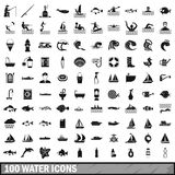 100 water icons set in simple style Royalty Free Stock Images