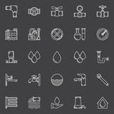 Water icons set. Vector outline symbols of faucets, water drops, pipes and other water supply signs Stock Photos