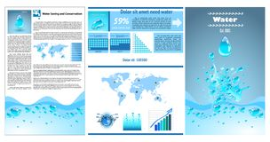 Water infographics. Information Graphics. Charts and UI elements. royalty free illustration