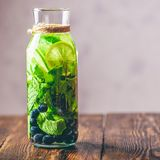 Water Infused with Lime, Mint and Blueberry. Royalty Free Stock Photography