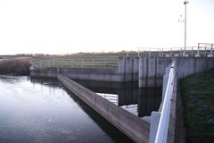 Water inlet Eendragtspolder water storage which will be used when water in river Rotte comes too high and Rotterdam has to be prot stock image