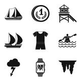 Water instructor icons set, simple style. Water instructor icons set. Simple set of 9 water instructor vector icons for web isolated on white background Stock Photos