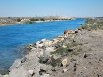 Water intake channel from the sea. Water intake channel for the desalination of sea water. Kazakhstan. Mangistau region. Aktau royalty free stock image