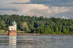 Water intake tower on Mississippi River Stock Photo