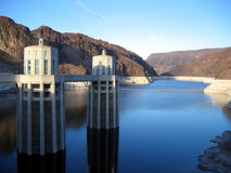 Water intake towers at Hoover Dam Stock Images