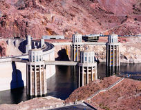 Hoover Dam. Water intake towers at Hoover Dam royalty free stock images