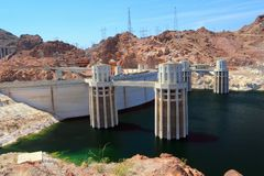 Water Intake Towers of Hoover Dam from Arizona side of the border. The water intake towers are jutting into the canyon end of Lake Meade where the imposing royalty free stock photography