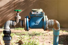 Water iron  pipe support for water tank connection Stock Photo