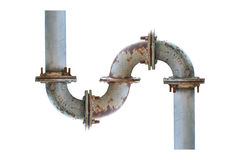 Water iron  pipe white isolated Royalty Free Stock Photos