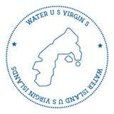 Water Island, U.S. Virgin Islands map sticker. Stock Photos