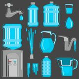 Water its sources of production for humans color flat icons set.. Water its sources of production for humans color flat icons set. Line design Royalty Free Stock Images