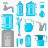 Water its sources of production for humans color flat icons set. Line design for web and mobile on white background Stock Photography