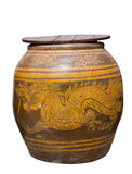 Water jar with dragon pattern and wooden lid on white Royalty Free Stock Image