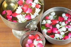 Water with jasmine and roses corolla in bowl Royalty Free Stock Photo