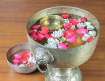 Water with jasmine and roses corolla in bowl Royalty Free Stock Photography