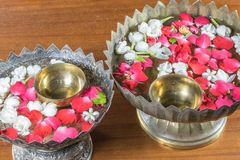 Water with jasmine and roses corolla in bowl Stock Photography