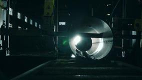Water-jet κινηματογραφήσεων σε πρώτο πλάνο κοπή του μετάλλου στην παραγωγή απόθεμα βίντεο