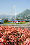 The water jet on the bay of Lugano Stock Images