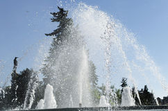 Water Jet In A City Park Fountain. With clear blue sky as background Stock Photography