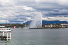 Water jet fountain in Geneva Stock Photo