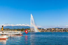 Water jet fountain with rainbow in Geneva Royalty Free Stock Images