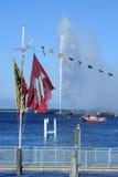 The water jet of lake Leman at Geneva Stock Image
