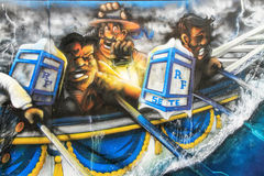 Water Jousting graffiti scene in Sete, France. SETE, France - August 23, 2014: Water Jousting graffiti scene on the wall of Sete, south of France on August 23 Stock Images