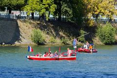 Water jousting, Parisian joust Royalty Free Stock Images