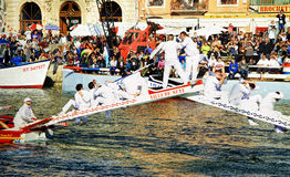 Water Jousting performance in Sète, Languedoc-Roussillon, south Royalty Free Stock Image