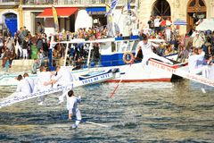 Water Jousting performance in Sète, Languedoc-Roussillon, south. Sete, France - March 26, 2016: Water Jousting performance during Stopover in Sète stock images