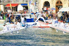 Water Jousting performance in Sete, Languedoc-Roussillon, south royalty free stock photo