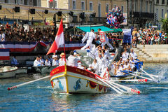 Water Jousting performance during St.Louis festival at the streets of Sete, South of France stock image