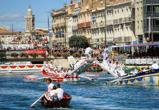 Water Jousting performance during St.Louis festival at the streets of Sete, South of France stock photos