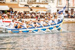 Water jousting in Sete town. SETE, FRANCE - July 30, 2017: Water jousting competition which lasted in Sete on the south of France. Jousting is a fight on the Stock Photos