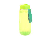 Water jug. An isolated photograph of a yellow green water jug stock images