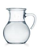 Water jug. Glass jug of water on white background royalty free stock images