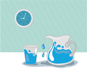 Water in jug, glass and blue clock Stock Photography